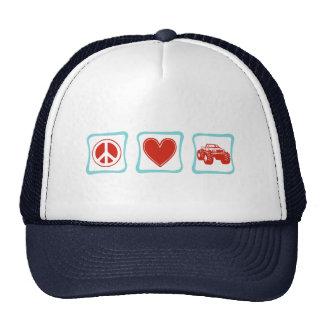 Peace Love Monster Trucks Squares Trucker Hat
