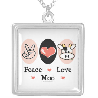 Peace Love Moo Cow Necklace