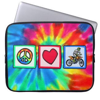 Peace, Love, Motocross Laptop Sleeve