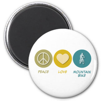Peace Love Mountain Bike 6 Cm Round Magnet