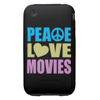 Peace Love Movies Tough iPhone 3 Covers