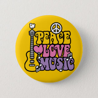 Peace-Love-Music 6 Cm Round Badge