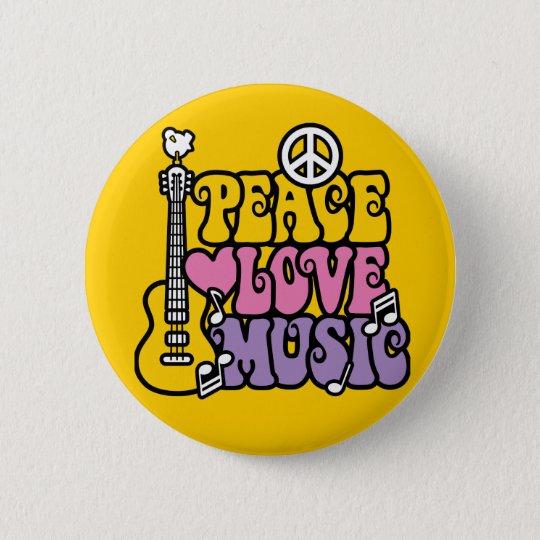Peace-Love-Music 6 Cm Round Badge