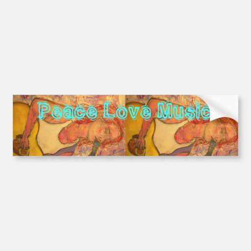 peace love music acoustic girl bumper stickers