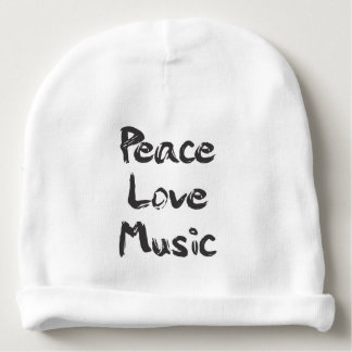 Peace, Love, Music Baby Beanie Hat