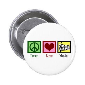 Peace Love Music 6 Cm Round Badge