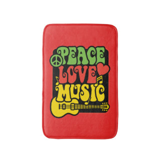 Peace Love Music Bath Mat