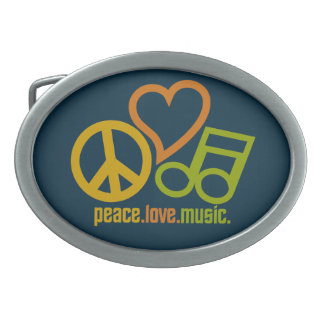 Peace Love Music belt buckle