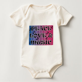 PEACE LOVE MUSIC BLUE BLENDED PURPLE WITH NOTES BABY BODYSUIT