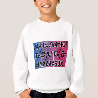 PEACE LOVE MUSIC BLUE BLENDED PURPLE WITH NOTES SWEATSHIRT