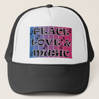 PEACE LOVE MUSIC BLUE BLENDED PURPLE WITH NOTES TRUCKER HAT