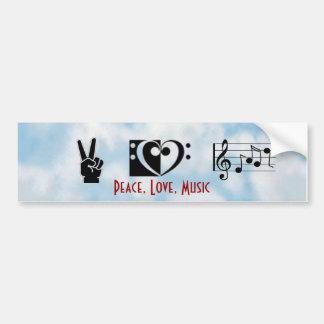Peace, Love, Music Bumper Sticker