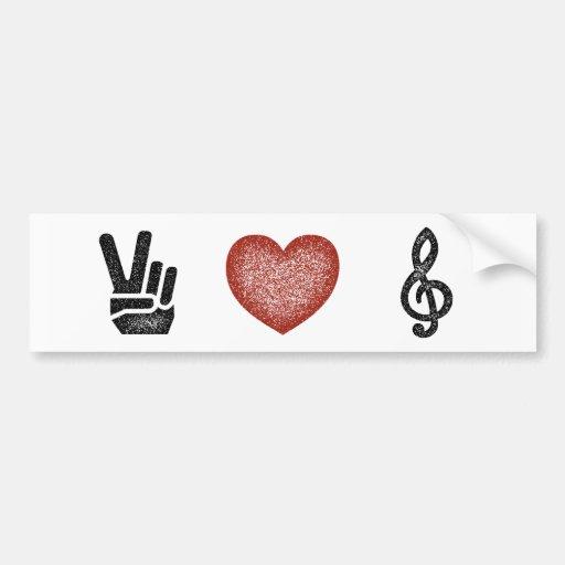 Peace Love Music Bumper Stickers
