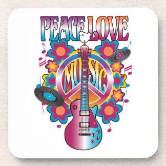 PEACE LOVE MUSIC DRINK COASTER