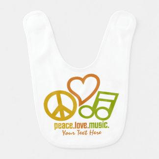 Peace Love Music custom baby bib