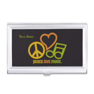 Peace Love Music custom business card holder