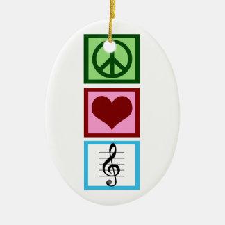 Peace Love Music Custom Christmas Ornament