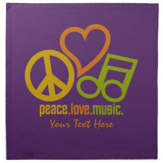 Peace Love Music custom cloth napkins
