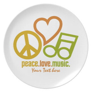 Peace Love Music custom melamine plate
