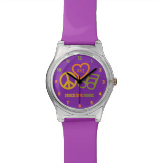 Peace Love Music custom monogram & color watches