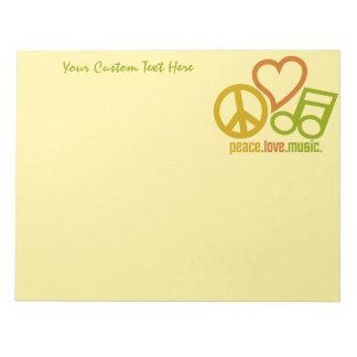 Peace Love Music custom notepad