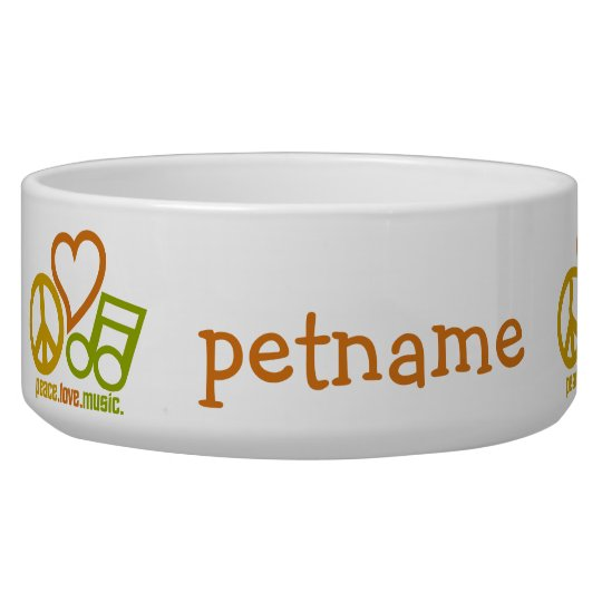 Peace Love Music custom pet bowls