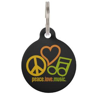 Peace Love Music custom pet tags