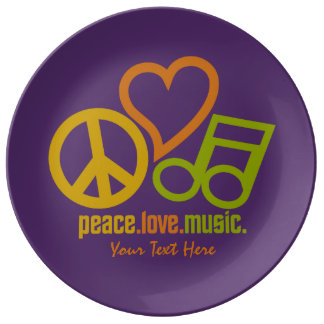 Peace Love Music custom porcelain plate