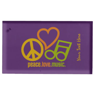 Peace Love Music custom table card holder