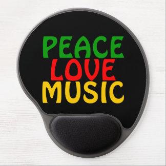 Peace Love Music Green Red Gold Gel Mouse Pad