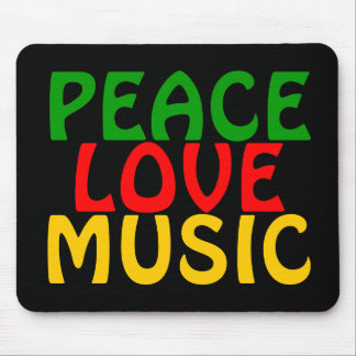 Peace Love Music Green Red Gold Mouse Pad