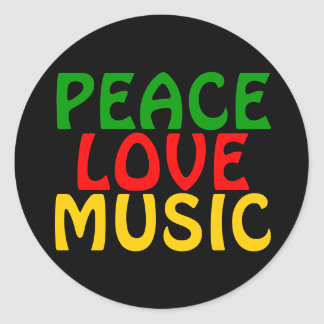 Peace Love Music Green Red Gold Round Stickers