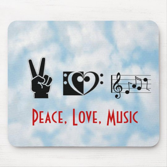 Peace, Love, Music Mouse Mat