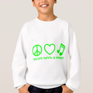 PEACE LOVE & MUSIC PICTURES GREEN SWEATSHIRT