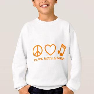 PEACE LOVE & MUSIC PICTURES ORANGE SWEATSHIRT