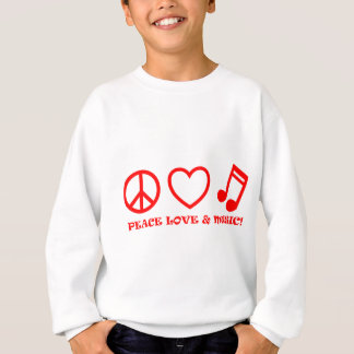 PEACE LOVE & MUSIC PICTURES RED SWEATSHIRT