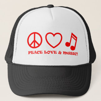 PEACE LOVE & MUSIC PICTURES RED TRUCKER HAT