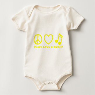 PEACE LOVE & MUSIC PICTURES YELLOW BABY BODYSUIT