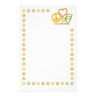 Peace Love Music stationary, customize Stationery