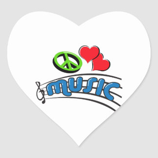 Peace Love Music Heart Stickers