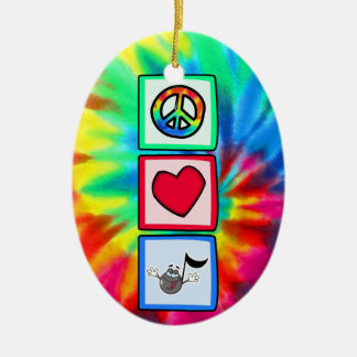Peace, Love, Music; Tie Dye Christmas Ornament