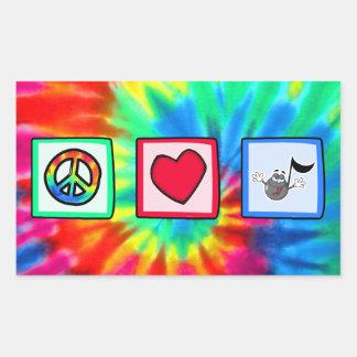 Peace, Love, Music; Tie Dye Rectangular Sticker