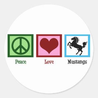 Peace Love Mustangs Round Sticker