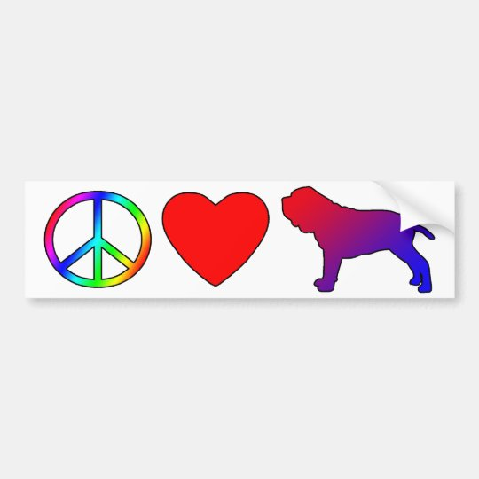 Peace Love Neapolitan Mastiffs Bumper Sticker