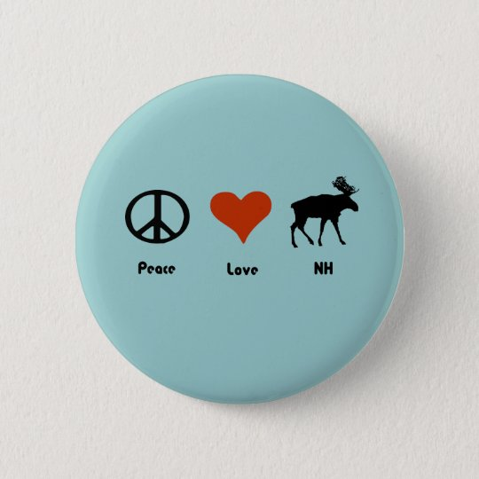Peace Love New Hampshire 6 Cm Round Badge