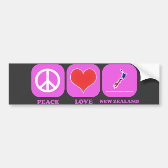 Peace Love New Zealand Bumper Sticker