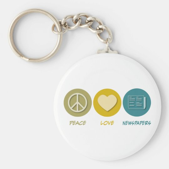 Peace Love Newspapers Basic Round Button Key Ring