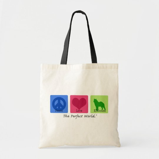 Peace Love Norwegian Elkhound Tote Bag