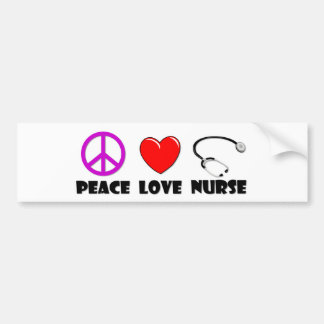 Peace Love Nurse Bumper Sticker