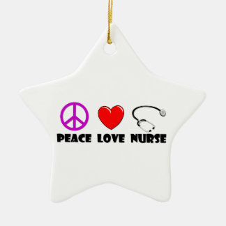 Peace Love Nurse Christmas Ornament
